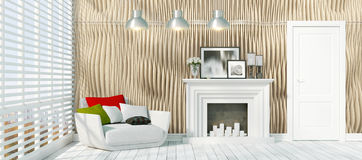Modern bright interior . 3D rendering. Beautiful modern interior with fireplace. 3D rendering Stock Photos