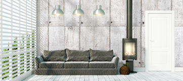 Modern bright interior . 3D rendering. Beautiful modern interior with fireplace. 3D rendering Royalty Free Stock Image