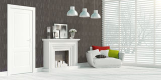 Modern bright interior . 3D rendering. Beautiful modern interior with fireplace. 3D rendering Royalty Free Stock Photos