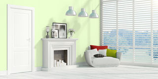 Modern bright interior . 3D rendering. Beautiful modern interior with fireplace. 3D rendering Royalty Free Stock Images