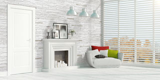 Modern bright interior . 3D rendering. Beautiful modern interior with fireplace. 3D rendering Stock Photography