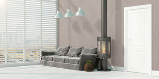 Modern bright interior . 3D rendering. Beautiful modern interior with fireplace. 3D rendering Stock Images
