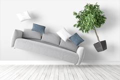 Modern bright interior . 3D rendering. Beautiful modern interior with flying furniture. 3D rendering Stock Photos