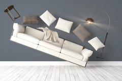 Modern bright interior . 3D rendering. Beautiful modern interior with flying furniture. 3D rendering Stock Image