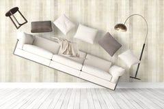 Modern bright interior . 3D rendering. Beautiful modern interior with flying furniture. 3D rendering Royalty Free Stock Photos