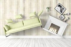 Modern bright interior . 3D rendering. Beautiful modern interior with flying furniture. 3D rendering Stock Photo
