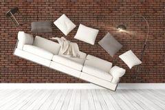 Modern bright interior . 3D rendering. Beautiful modern interior with flying furniture. 3D rendering Royalty Free Stock Image