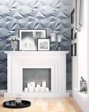 Modern bright interior . 3D rendering Royalty Free Stock Photos