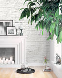 Modern bright interior . 3D rendering. Beautiful living room interior with fireplace. 3D rendering Royalty Free Stock Photo