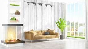 Modern bright interior . 3D rendering. Beautiful modern living room interior with fireplace. 3D rendering Stock Images
