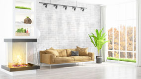 Modern bright interior . 3D rendering. Beautiful modern living room interior with fireplace. 3D rendering Stock Photo