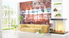Modern bright interior . 3D rendering. Beautiful modern living room interior with fireplace. 3D rendering Royalty Free Stock Photos