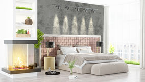 Modern bright interior . 3D rendering. Beautiful modern living room interior with fireplace. 3D rendering Royalty Free Stock Photography