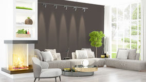 Modern bright interior . 3D rendering Stock Photos