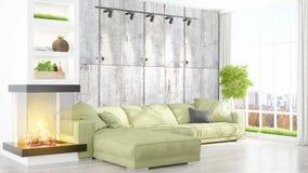 Modern bright interior . 3D rendering Stock Photo