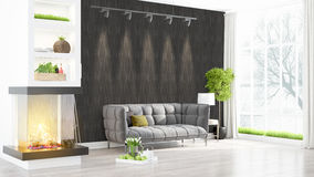 Modern bright interior . 3D rendering Royalty Free Stock Images
