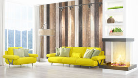 Modern bright interior . 3D rendering Royalty Free Stock Photo