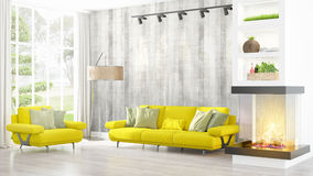 Modern bright interior . 3D rendering Stock Images