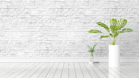 Modern bright interior . 3D rendering. Beautiful modern interior with plant. 3D rendering Royalty Free Stock Photo