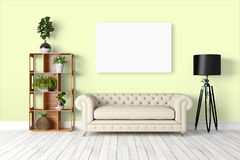 Modern bright interior . 3D rendering. Beautiful modern interior with sofa. 3D rendering Royalty Free Stock Images