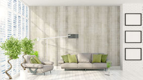 Modern bright interior . 3D rendering. Beautiful modern interior with sofa. 3D rendering Stock Photo