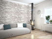 Modern bright interior . 3D rendering Royalty Free Stock Photo