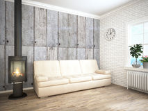 Modern bright interior . 3D rendering Royalty Free Stock Image