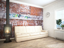 Modern bright interior . 3D rendering Stock Photos