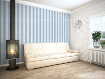 Modern bright interior . 3D rendering. Bright interior with fireplace in a modern style . 3D rendering Stock Photo