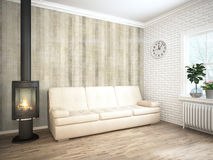 Modern bright interior . 3D rendering. Bright interior with fireplace in a modern style . 3D rendering Stock Photography