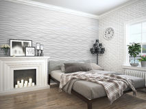 Modern bright interior . 3D rendering. Bright interior with fireplace in a modern style . 3D rendering Royalty Free Stock Photos