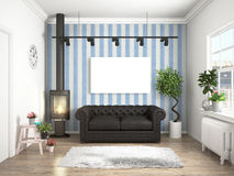 Modern bright interior . 3D rendering. Bright interior with sofa in a modern style . 3D rendering Stock Photo