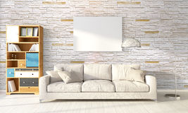 Modern bright interior . 3D rendering Stock Photography
