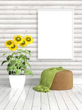 Modern bright interior with empty frame . 3D rendering Royalty Free Stock Photos