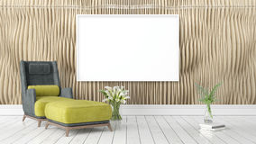 Modern bright interior with empty frame . 3D rendering Royalty Free Stock Photography