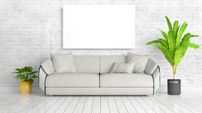 Modern bright interior with empty frame . 3D rendering Royalty Free Stock Images