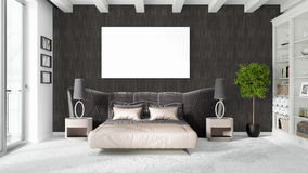 Modern bright interior with empty frame . 3D rendering Stock Photography