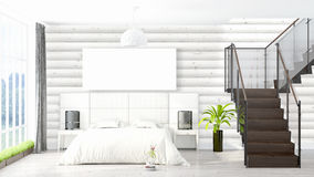 Modern bright interior with empty frame . 3D rendering Royalty Free Stock Image