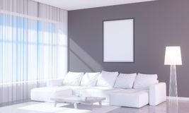 Modern bright interior with empty frame . 3D rendering 3D illustration room,  scandinavian,  sofa,  space,  up,  wall,  white. Window,  wood,  wooden Royalty Free Stock Photography