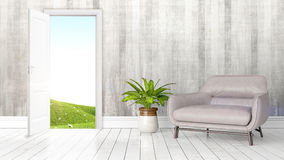 Modern bright interior with open door . 3D rendering Stock Photo