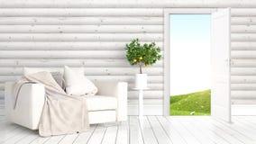 Modern bright interior with open door . 3D rendering Royalty Free Stock Image