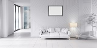 Modern bright interior with sofa and lamp. 3d illustration stock photography
