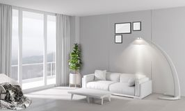 Modern bright interior with sofa and lamp. 3d illustration royalty free stock photo