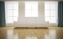 Modern bright interior with white sofa Stock Images