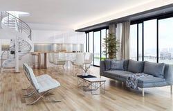 Modern bright interiors apartment 3D rendering illustration stock images