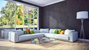 Modern bright interiors apartment 3D rendering illustration. Room with windows Stock Photo