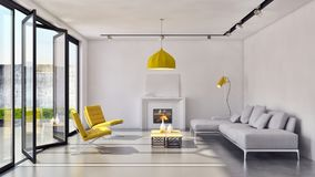 Modern bright interiors apartment 3D rendering illustration. Room with windows Stock Images