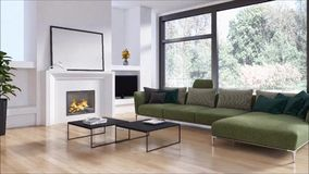 Modern bright interiors apartment Living room with sofa 3D rendering illustration
