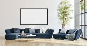 Modern bright interiors apartment with mock up poster frame illustration 3D rendering computer generated image. Large luxury modern bright interiors apartment royalty free stock photography
