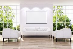 Modern bright interiors apartment with mockup poster frame 3D re stock illustration